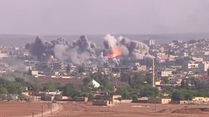 A coalition airstrike against IS in Kobane, October 2014 – public domain