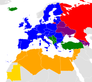 Map of the ENP - Public domain - Yellow/Orange: ENP South and members of the Union of the Mediterranean. - Red: Russia - Purple: ENP East - Green: Enlargement Agenda - Blue: EU Member States