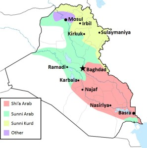 Approximate distribution of ethno-religious groups in Iraq – Rafy, Kathovo and Alex Ireland, licenced under CC BY-AS 3.0