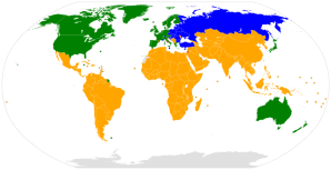 Map of the UNFCCC - Public Domain : - Green & Blue: Annex I countries - Yellow: Non annex countries - Red: Observer states
