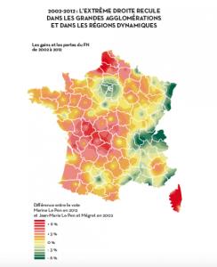 Les gains et les pertes de du FN entre 2002 et 2012. Crédit: Hervé Le Bras