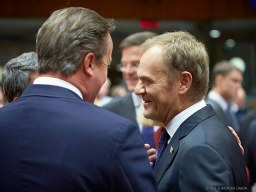Donald Tusk and David Cameron at a Council meeting in Brussels - by President of the European Council , licensed under CC BY-NC-ND 2.0
