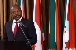 President of Burundi Pierre Nkurunziza addresses guests during the state banquet at Tuyhuis in Cape Town. The strongman leader has held office since 2005 despite violent protests against his reelection - by DOC, licensed under CC-BY-2.0